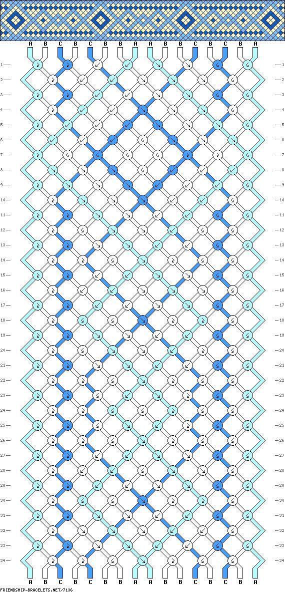 Friendship bracelet pattern - easy - diamonds, border - 16 strings, 3 colors
