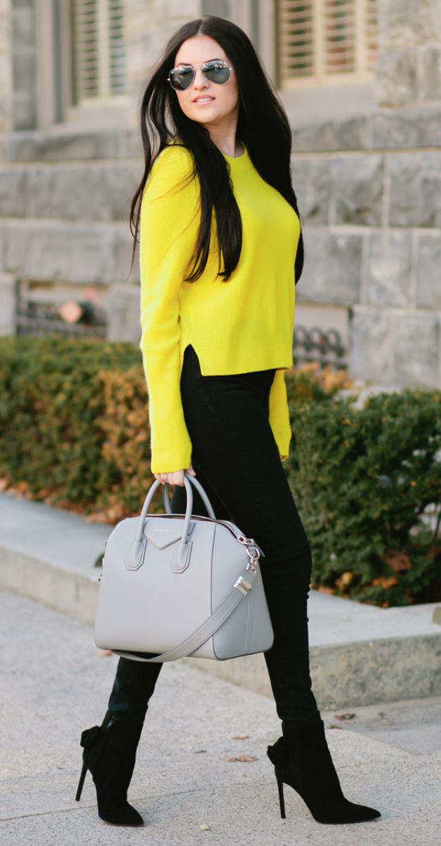 Yellow Sweater Outfit Ideas 35