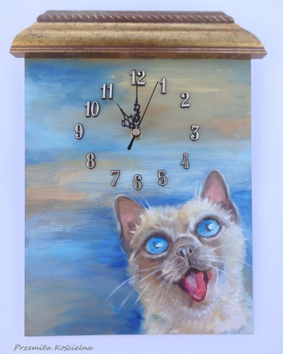 SINGING CAT CLOCK Cat portrait Original oil by CanisArtStudio #cat #kitten #clock #walldecor #handmade #etsy #painting #canisartstudio