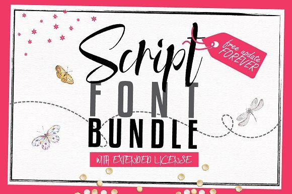 Script Font Bundle - 90% OFF by Font & Graphic Land on @creativemarket