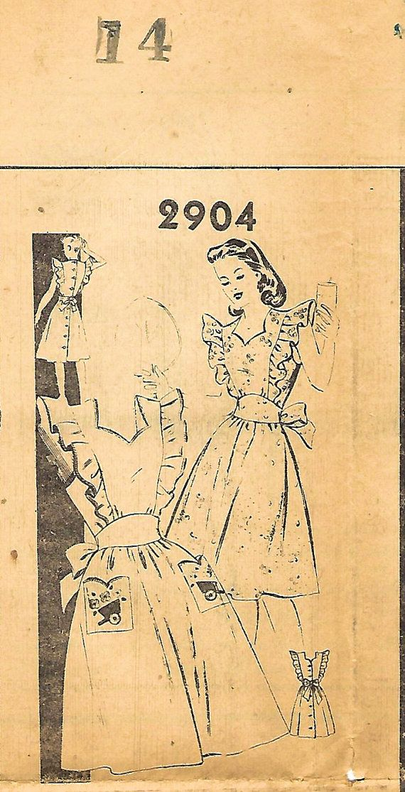 1940s postorder 2904 Vintage naaien patroon missers schort jurk, zonder mouwen jurk, Midriff jurk maat 14 buste 32