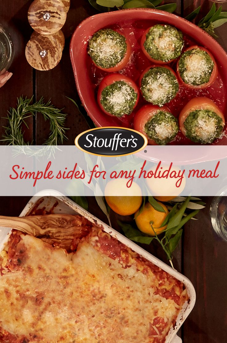 Entertaining doesn't have to be complicated! Create this simple three-ingredient recipe to make your holiday dinner special. Spinach Stuffed Tomatoes are made with Stouffer's Spinach Soufflé and shredded Parmesan cheese for a hearty addition to your table.