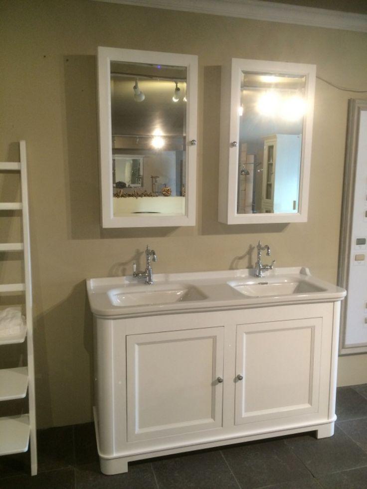 Waschtisch weiß, Doppelwaschtisch im Landhausstil, Farbe weiß, Breite 150 cm - Waschtische - Bad / Waschtische / Badmöbel - Landhaus Style - Möbel