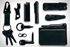 EDC: Black — Gerber Shard Keychain Tool ($8). SOG Flash I Knife ($40). Bic Lighter ($1). Architect's Wallet + Fisher Space Pen ($98). Leatherman Rebar Multi-Tool ($65). Apolis Transit Issue Keychain ($38). SOG Key Knife ($12). Nite Ize S-Biner MicroLock ($5). Streamlight MicroStream Flashlight ($9). Screwpop ($10).