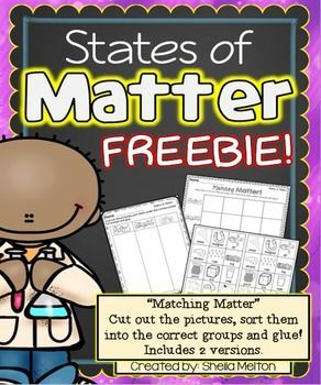 States of Matter FREEBIE! Students will cut out the pictures, sort them into the correct #StatesOfMatter group and glue. Perfect for your science center! 2 versions included. #sheilamelton