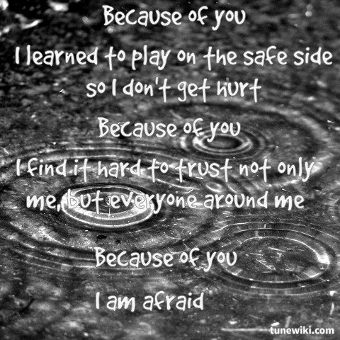 """-- #LyricArt for """"Because Of You"""" by Kelly Clarkson"""