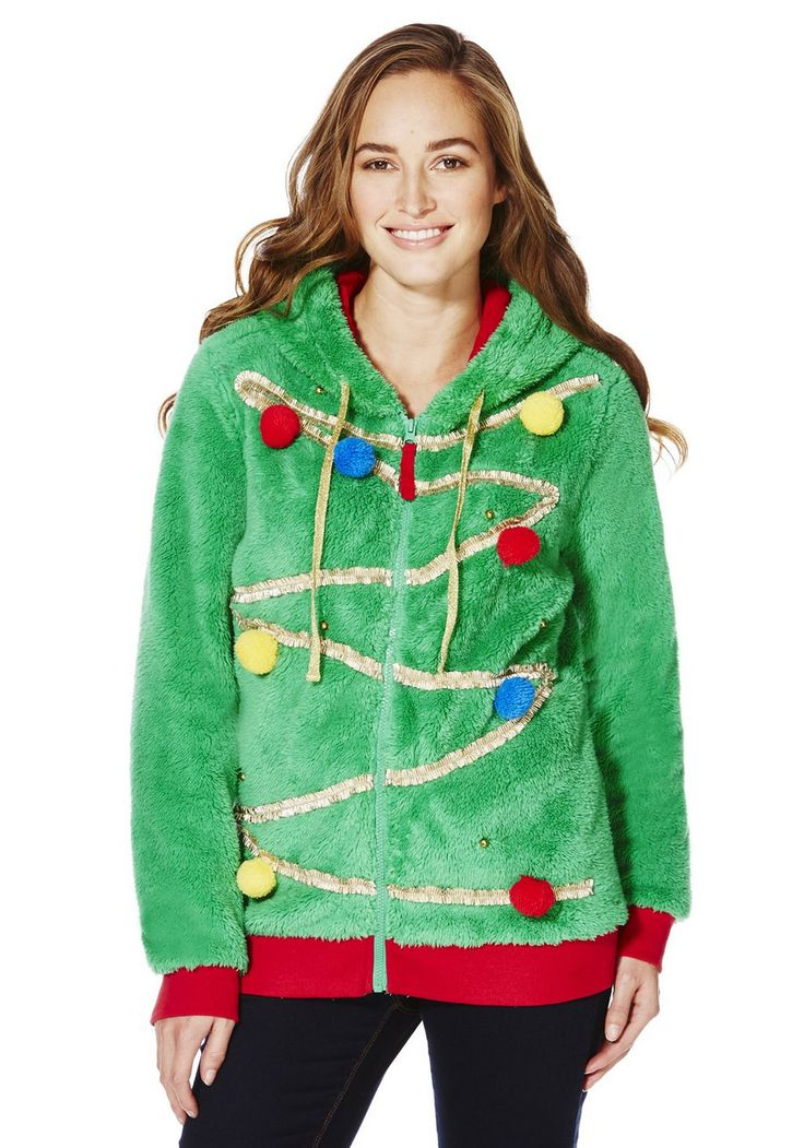 <li><p>Be warm and festive in this fun Christmas tree hoodie from F&F. In a supersoft fleece with a ribbed hem and cuffs, the hoodie is decorated with gold ribbon, multi-coloured jingly pom poms and a gold star on the hood.</p><p>Zip-through fastening</p>  <p>Sits on the hip</p></li>