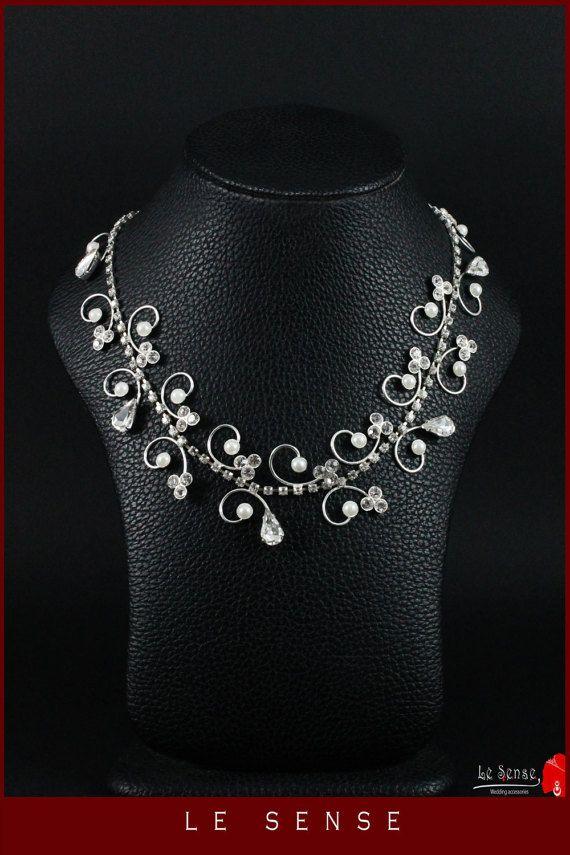 Unique handmade gorgeous Royal wedding necklace inlaid with Swarovski crystals…