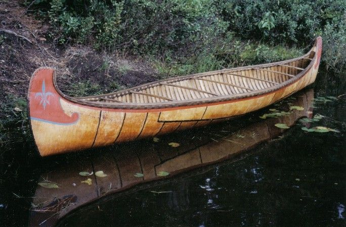 12 foot half-scale model of 24 foot Algonquin fur-trade style canoe (I've paddled in one of these before. but in the giant 24 foot one. an incredible experience!)
