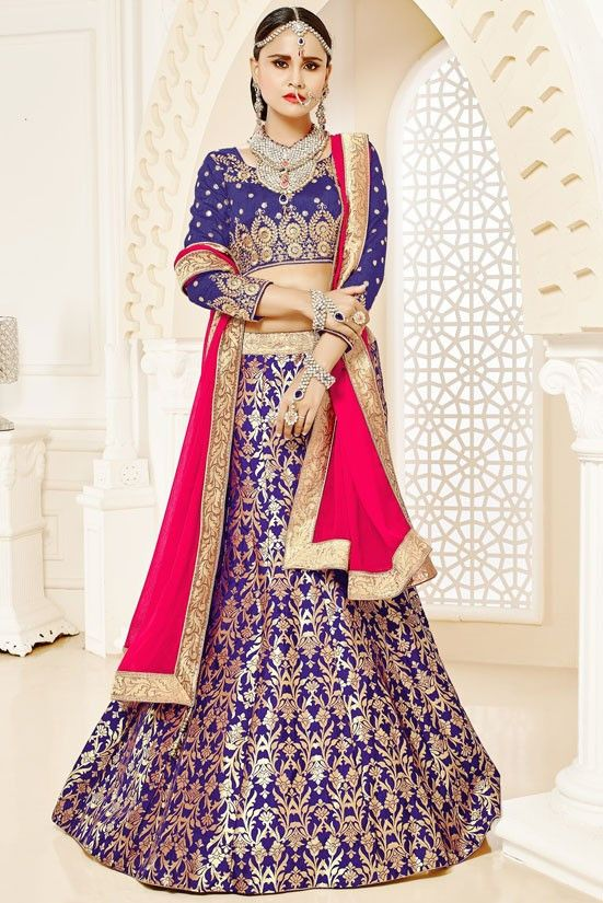 Image result for ink purple brocade lehenga