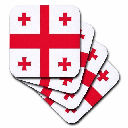 3dRose Flag of Georgia - Georgian Red Jerusalem Crusaders Cross on white - crosslets - St George - world, Soft Coasters, set of 4