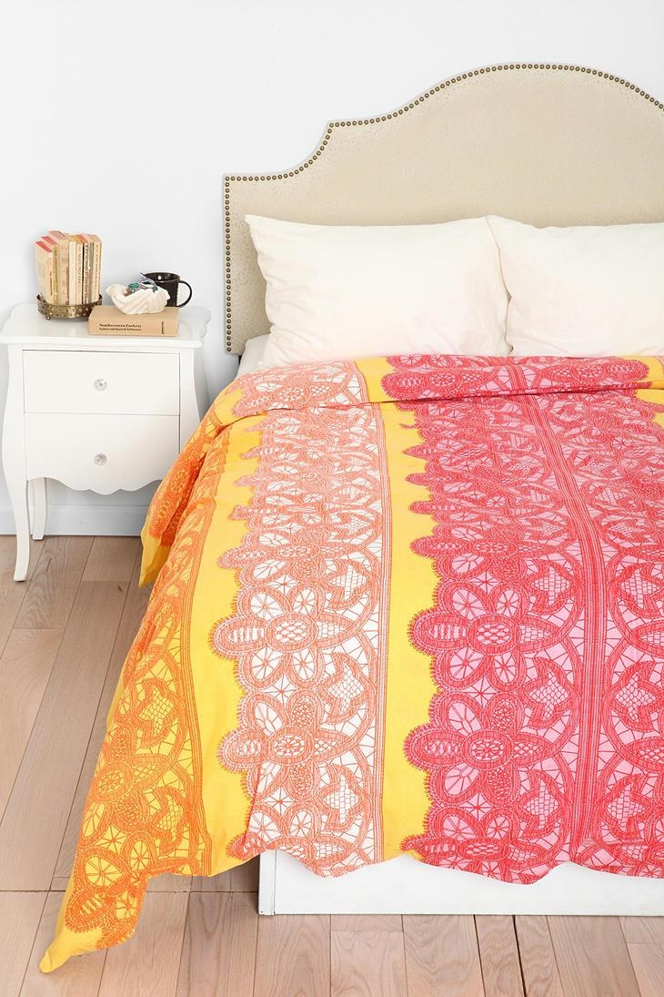 best duvet covers images on pinterest  orange duvet covers  - plum  bow lace stripe duvet cover urbanoutfitters for that bright pop ofcolor