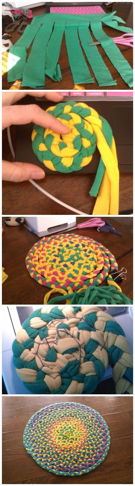 Make a braided t-shirt rug or coaster, or placemat. Looks like a fun project I'll probable never get to.