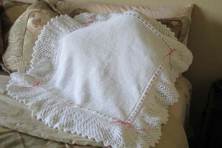 50 Hand Knit Lacy Christening Blanket Beautiful Lacy