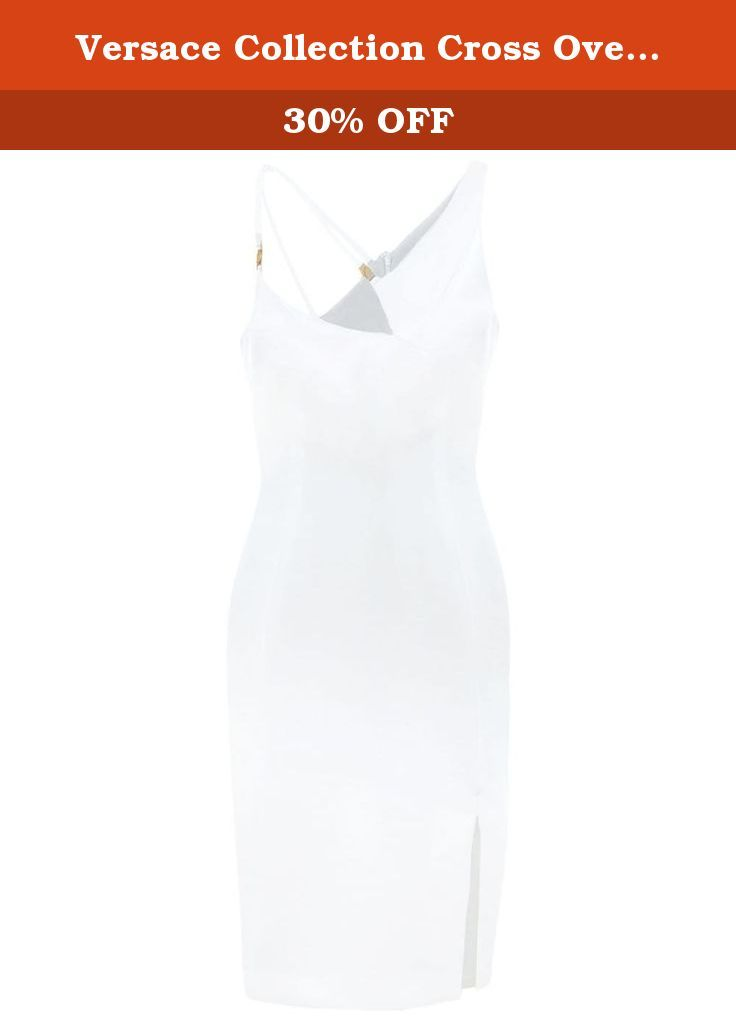 Versace Collection Cross Over Strap Dress US4-6 / UK10 Off White. An elegant take on the one shoulder dress, the Versace Collection strap dress features an asymmetric neckline complemented by crossed over straps and branded metal hardware.
