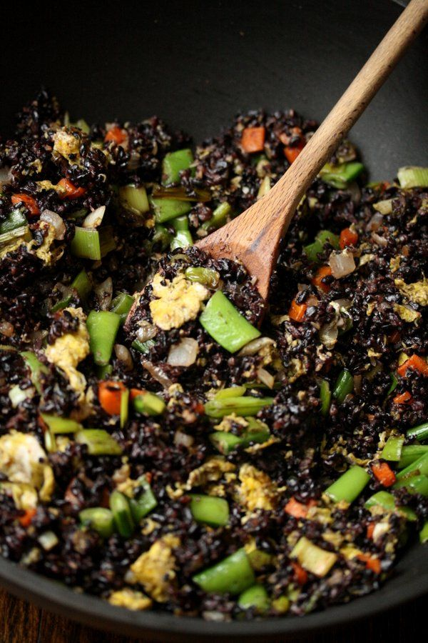 Fried Forbidden Black Rice Recipe with Snap Peas and Scallions | Gluten-Free | Healthy Chinese