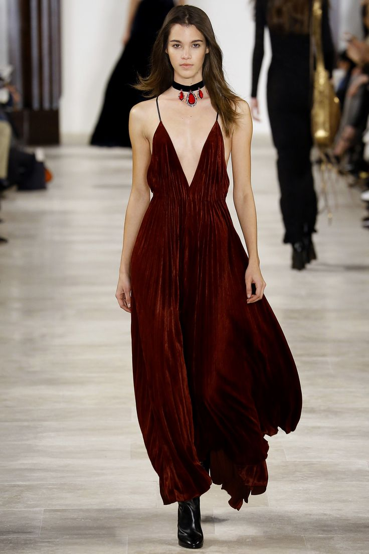 Ralph Lauren - burgundy deep v plunge neck spaghetti strap pleated gown which is also backless - Fall 2016 Ready-to-Wear Fashion Show...x