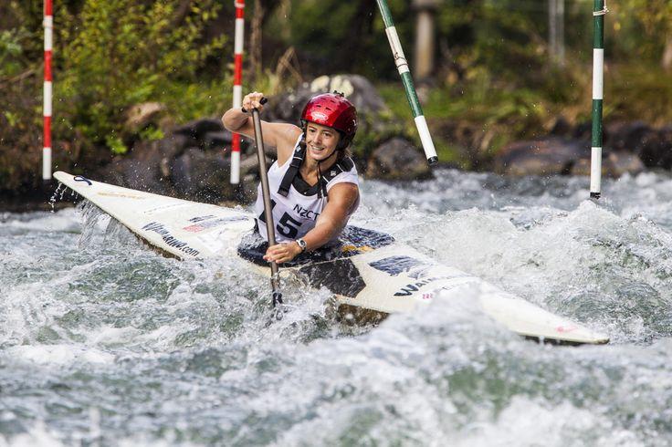 Competitor having fun on the Canoe Slalom course at Kawerau