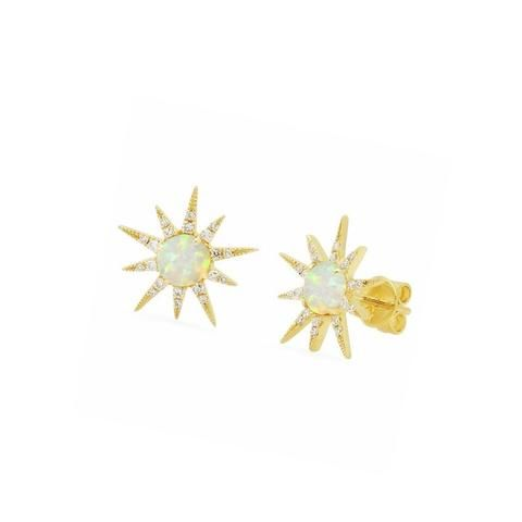 Studs Opal Starburst Stud Earrings at Liliana Skye #starstudearrings #goldstudearrings #opalstudearrings #fashionchictrend