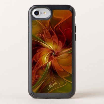 Abstract Red Orange Brown Green Fractal Art Name Speck iPhone Case - floral style flower flowers stylish diy personalize