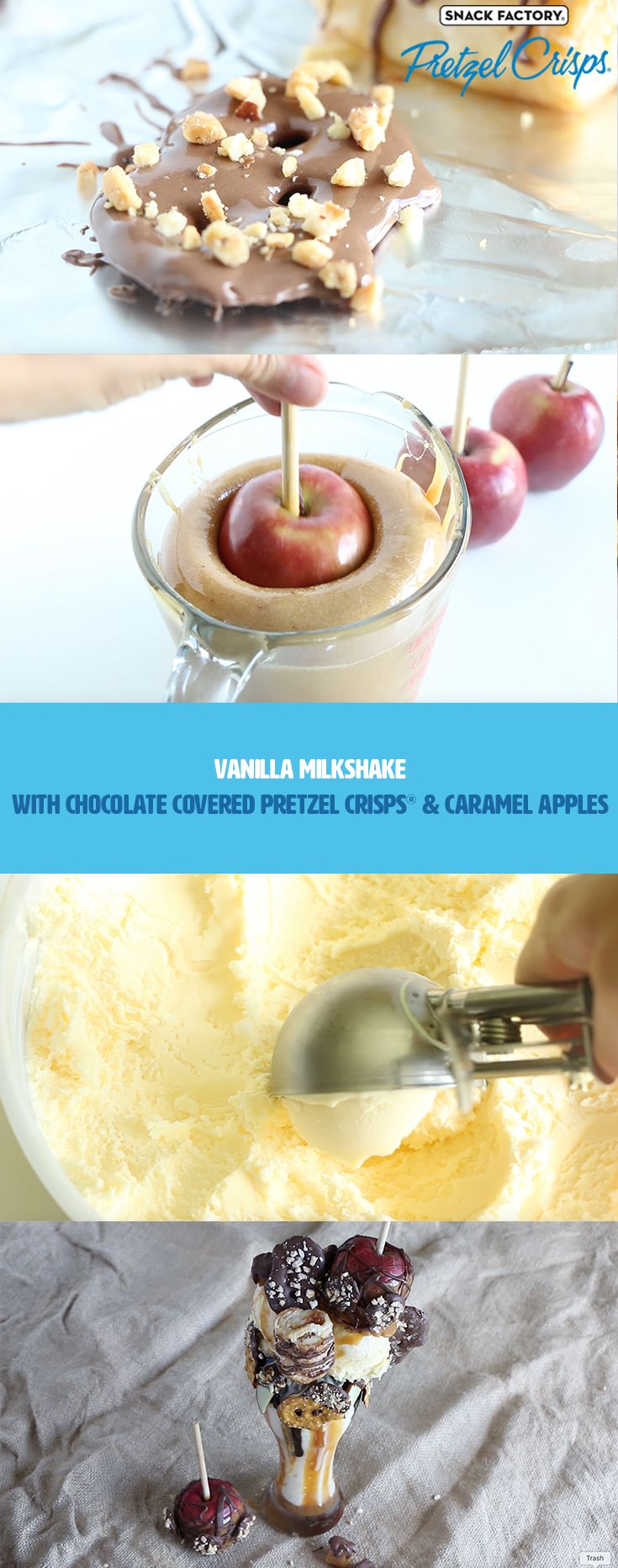 Vanilla Milkshake with Chocolate covered Pretzel Crisps® and Caramel Apples