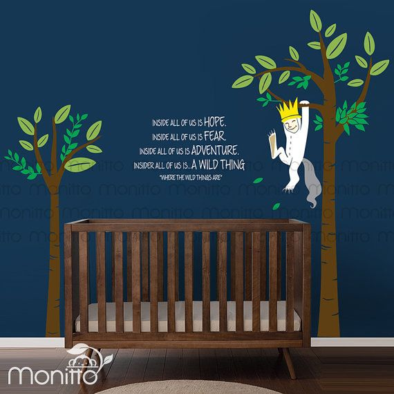 Cute Max is hanging from a tree. Depict the scene from the famous children book where the wild things are. A perfect wall decals for your nursery, kids