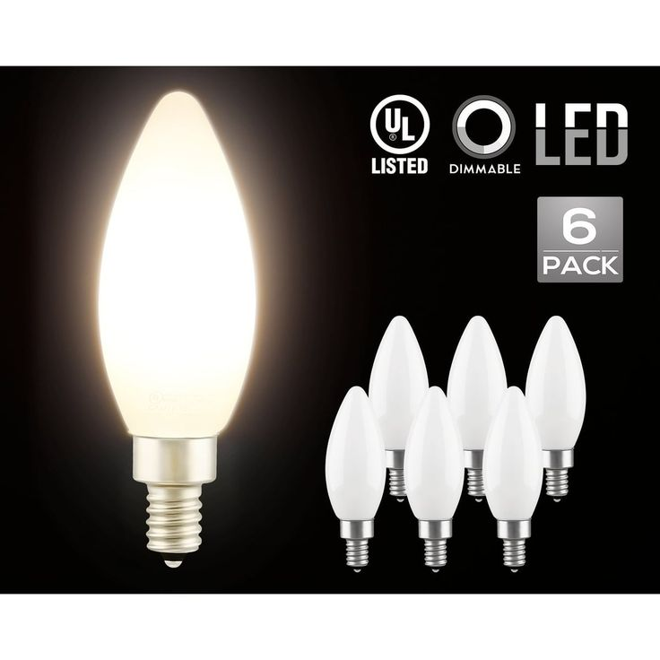 LED Dimmable Frosted Glass Filament Candelabra Bulb, 4.5W (60W Equiv.) C11 Decorative Milky Candle Bulb, UL-listed, 2700K,6 Pack, White