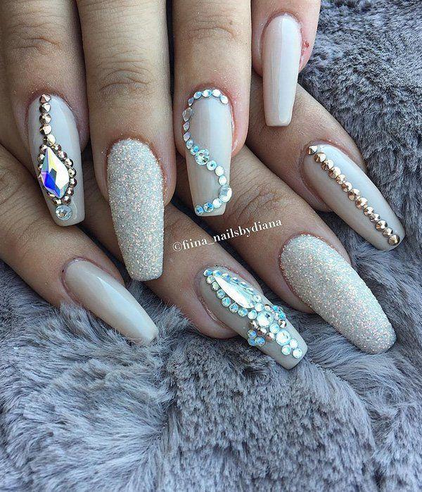 50 Rhinestone Nail Art Ideas Cuded Rhinestone Nails Nails Design With Rhinestones Swarovski Nails