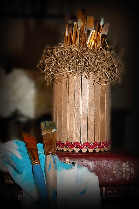 Use old veggi cans to make brush or pencil holder. Wanted it to look a bit like a birds nest