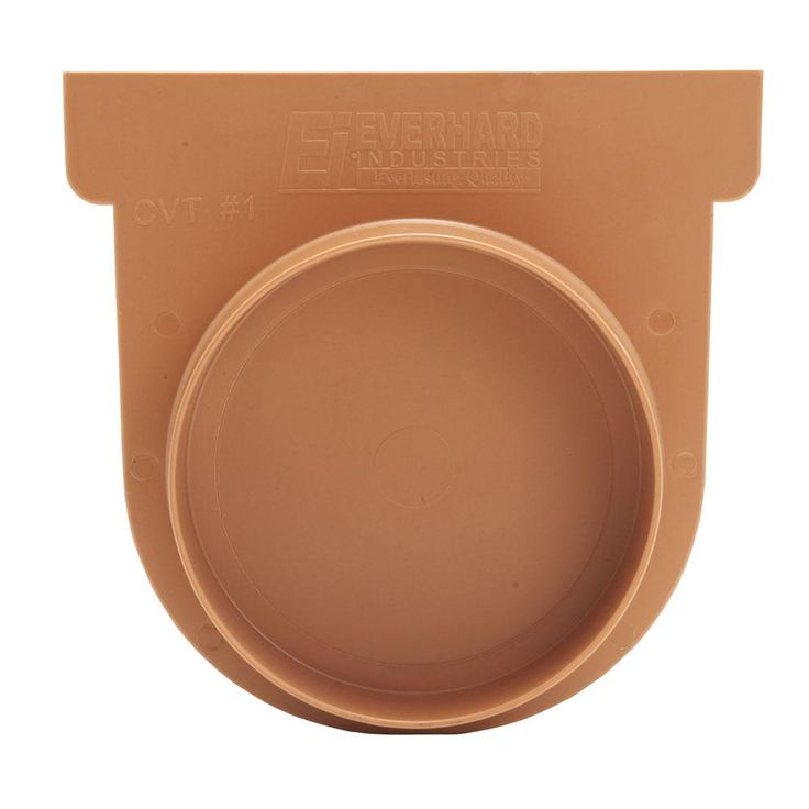 Easy Drain Series Terracotta End Cap and 3 in. Pipe Adaptor for Modular Trench and Channel Drain Systems, Brown/Tan