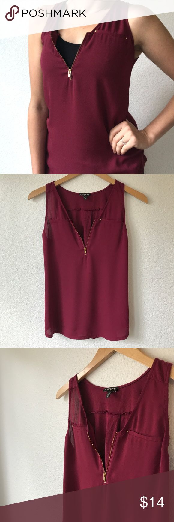 Express Gold Zip Maroon Red Tank XS Purchased this summer from the Express store. Features a maroon/red color and gold zip. Wore once and washed in cold water. Size XS. Express Tops Blouses