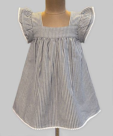 Another great find on #zulily! Chambray Stripe Angel-Sleeve Dress - Infant, Toddler & Girls #zulilyfinds