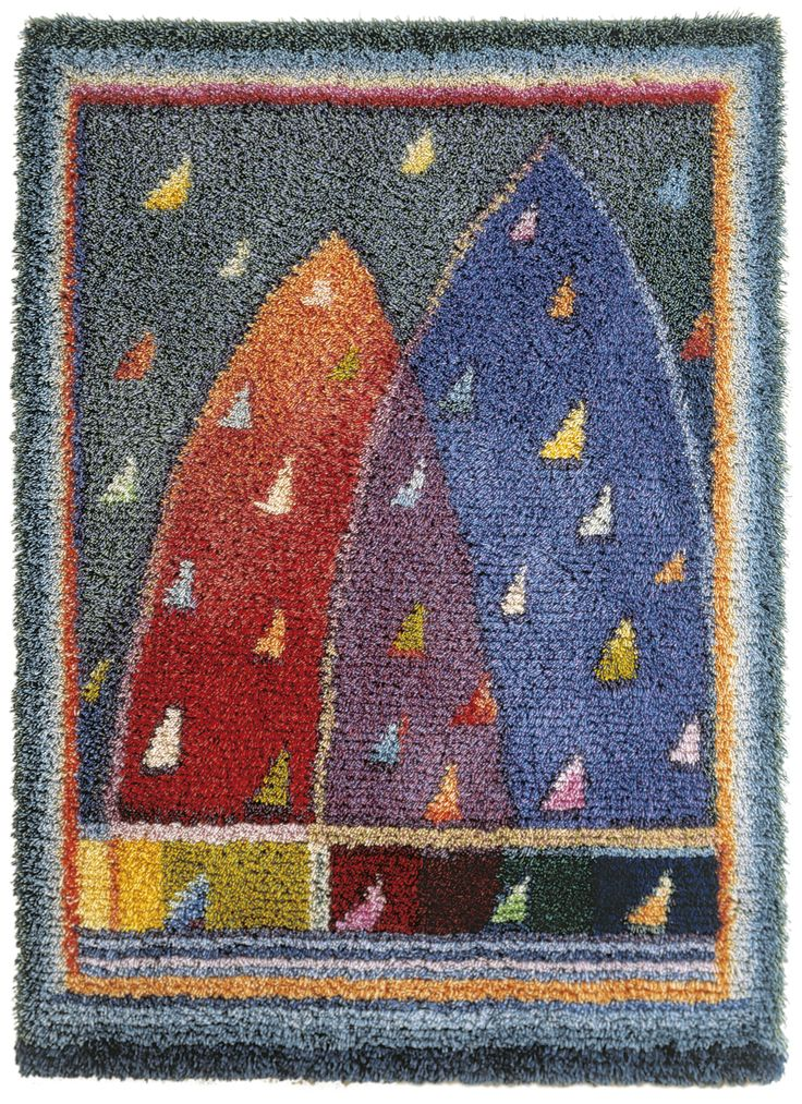 Satupurjeet (Fairytale Sails) by Sirkka Könönen in 1992. A Finnish woven ryijy cloth rug from wool and linen. Size 110 cm x 150 cm. Weave one yourself or purchase it ready made from www.kasityonystavat.fi.