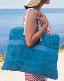 Beach-Towel Tote Bag ~ Turn bathroom towels into an all-in-one beach mat and tote bag. Start with 1 hand towel and 1 bath towel in the same color (length of hand towel should equal width of bath towel).