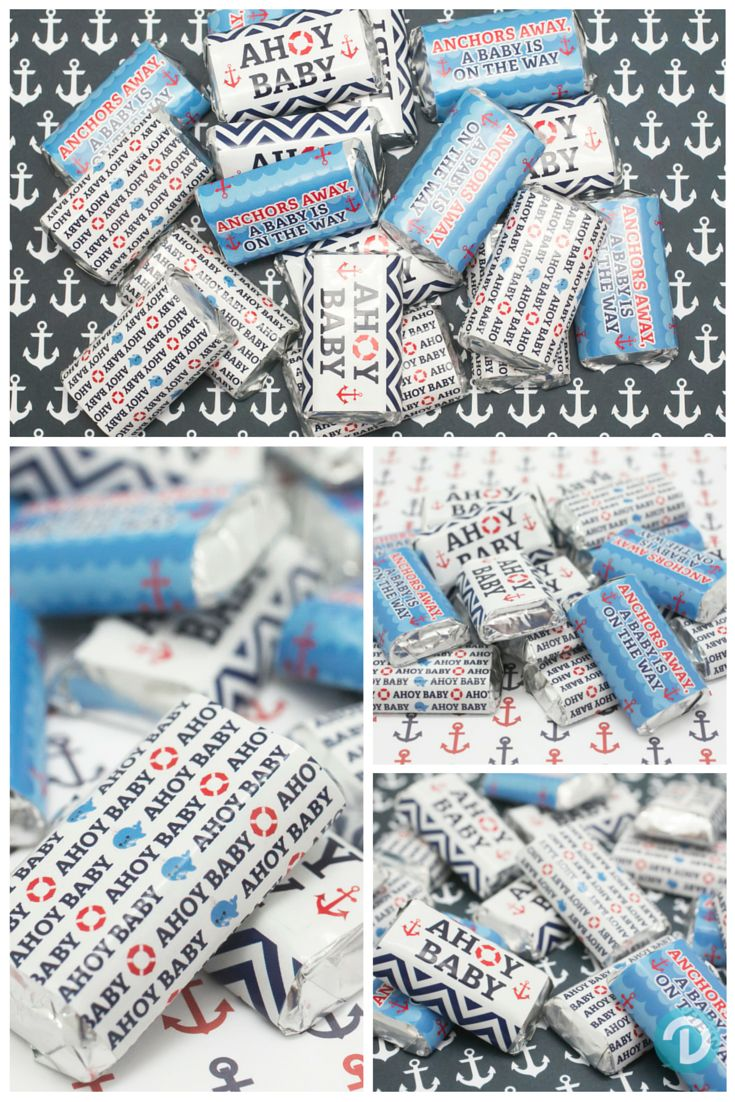 Anchors Away - A New Baby is on the Way!  Celebrate at your Nautical Ahoy Baby Shower with these cute sticker that full wrap around Hershey's Miniatures Candy Bars. #ahoybabyshower  Coordinating Hershey Kiss Stickers are also available.