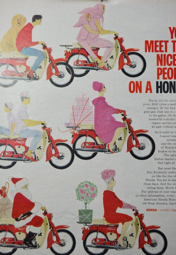 Honda Scooter Red Vintage Ad 1963 Large format by TannaGail