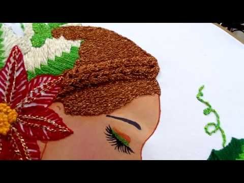 COMO BORDAR UNA CORONA DE NAVIDAD CON CINTAS / EMBROIDERED CHRISTMAS WREATH ON RIBBONS - YouTube