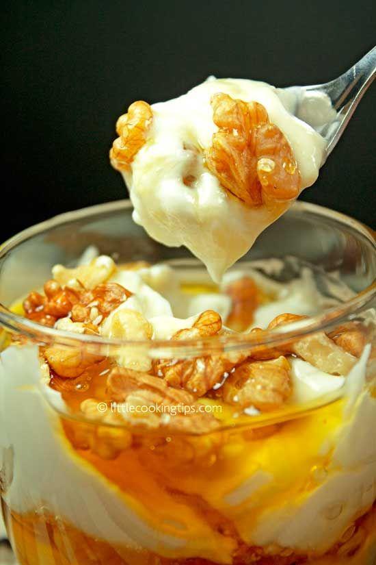 Greek yogurt with honey and walnuts: A Traditional Greek Dessert Recipe