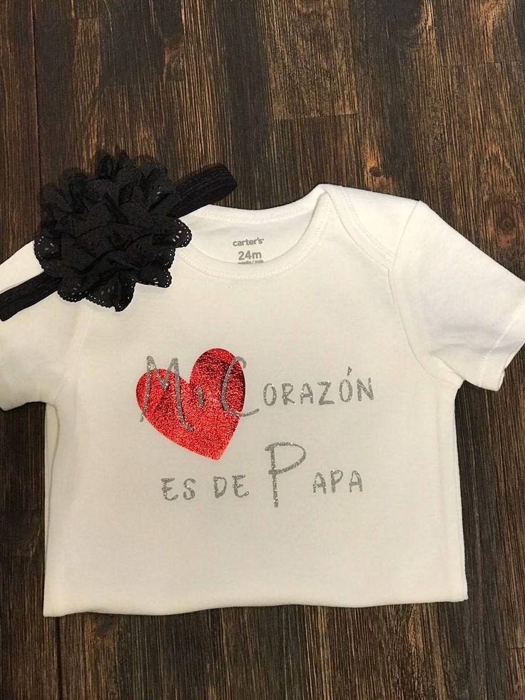 Mi Corazon es de Papa Onesie, My Heart belongs to Dad Baby Onesie, Baby Shower Gift, by StrawberryYam on Etsy