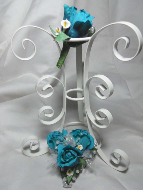 Blue Prom Corsage And Boutonniere Set With by TheWeddingPetal, $29.50