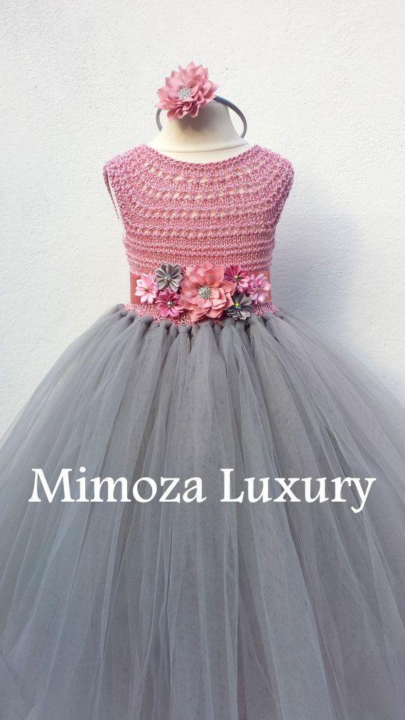 Dusty pink and Grey Flower girl dress tutu dress bridesmaid