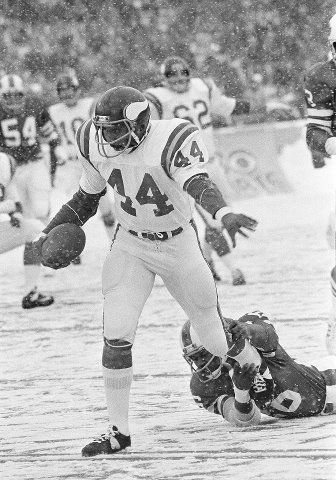 A cold and snowy day on December 22nd, 1975. Chuck Foreman scores one of four touchdowns in the Minnesota Vikings 35-13 victory over the Buffalo Bills.