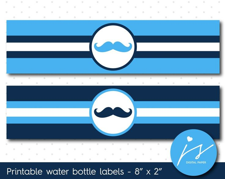 Bright blue and navy blue mustache water bottle labels, WA-73