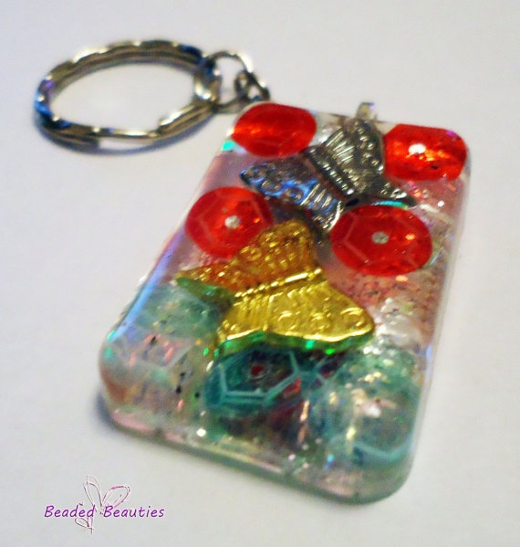 Resin Butterfly Keychain Key ring/ WHIMSICAL by SBeadedbeauties, £6.00