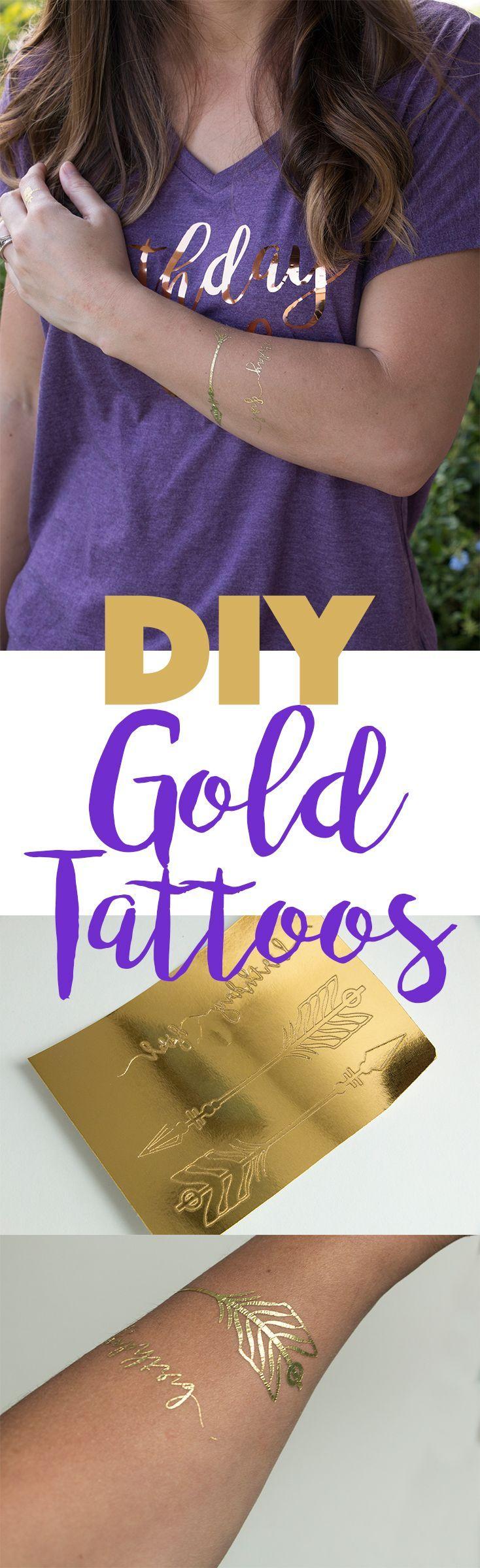 DIY Metallic Gold Temporary Tattoos! No more buying them.