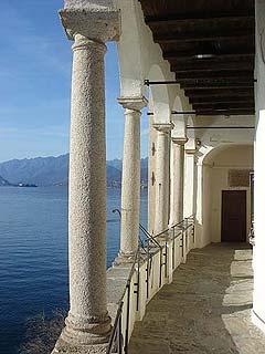 Leggiuno (Varese), Santa Caterina del Sasso, un portico. Lake Maggiore. Italy