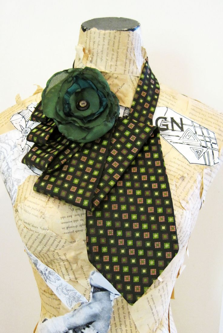 Olive green vintage tie necklace www.tiesandwhimsy.com