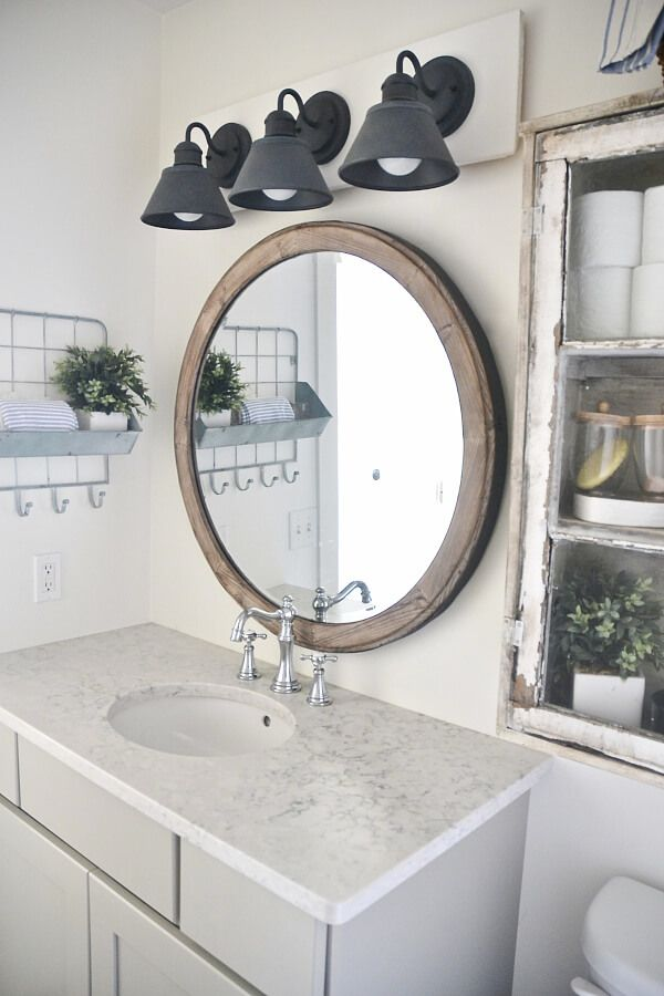 36 Beautiful Farmhouse Bathroom Design And Decor Ideas You Will Go Crazy  For. Vanity Light FixturesFarmhouse ...