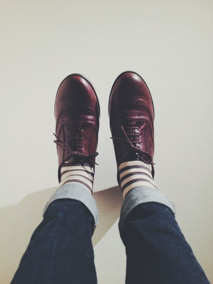Brogues, and stripey socks.
