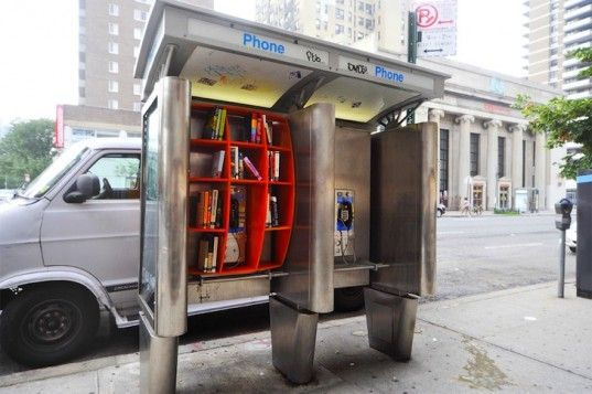 Mini libraries in NYC phone booths -- closer view of that pinned earlier in this board